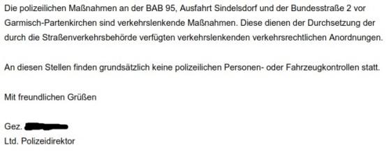 Ausschnitt aus dem Schreiben des Führungsstabs der BAO Werdenfels vom 07.06.2015